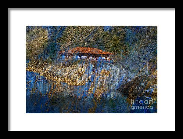 Landscape Framed Print featuring the digital art House On Lake by Irina Hays