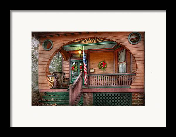 Victorian Framed Print featuring the photograph House - Porch - Metuchen Nj - That Yule Tide Spirit by Mike Savad