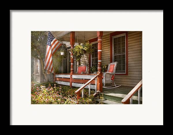 Porch Framed Print featuring the photograph House - Porch - Traditional American by Mike Savad