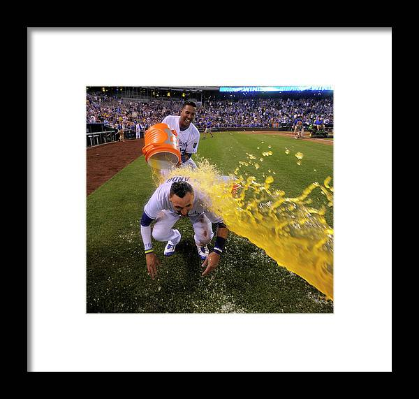 Salvador Perez Diaz Framed Print featuring the photograph Houston Astros V Kansas City Royals by Ed Zurga