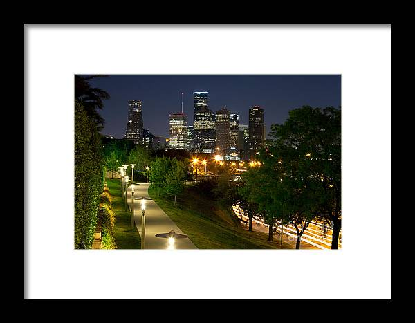 Houston Framed Print featuring the photograph Houston At Night by Bill Cobb