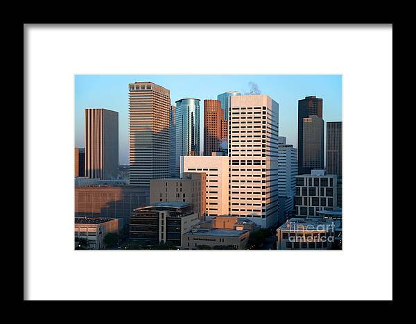 Houston Framed Print featuring the photograph Houston Financial District by Bill Cobb