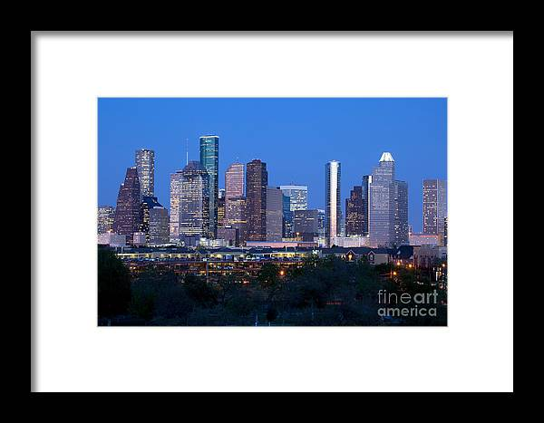 Houston Framed Print featuring the photograph Houston Night Skyline by Bill Cobb