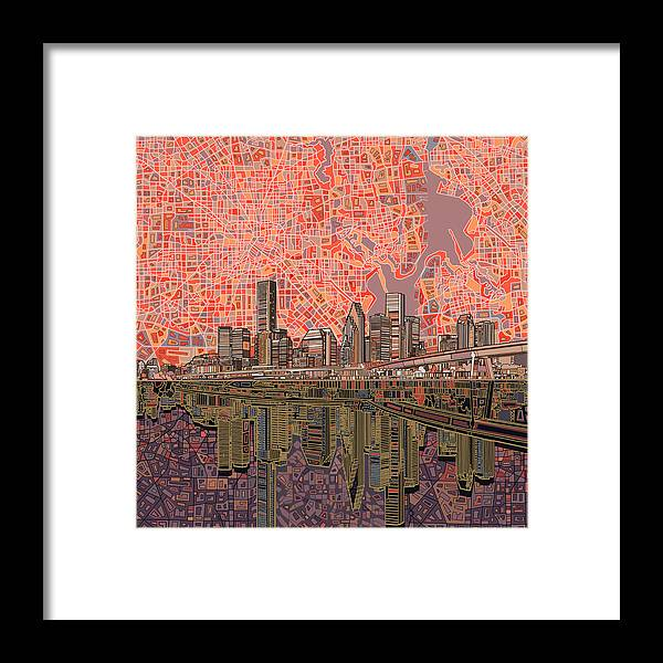 Houston Framed Print featuring the painting Houston Skyline Abstract 5 by Bekim M