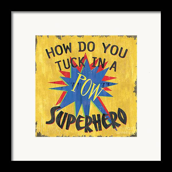 Kids Framed Print featuring the painting How Do You Tuck... by Debbie DeWitt