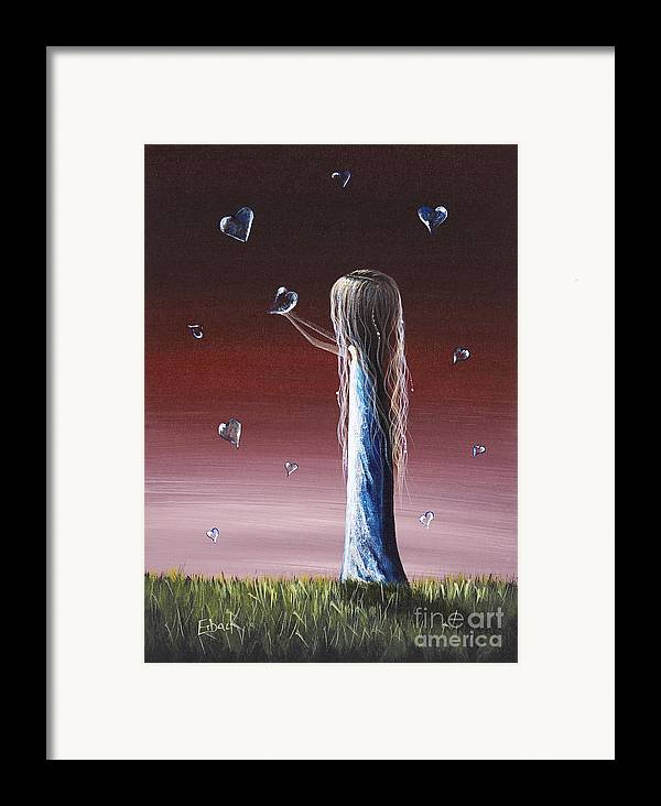 Girl Framed Print featuring the painting How She Says I Miss You By Shawna Erback by Shawna Erback