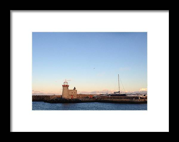 Lighthouse Framed Print featuring the digital art Howth Lighthouse In Ireland by Barbara Bellissimo