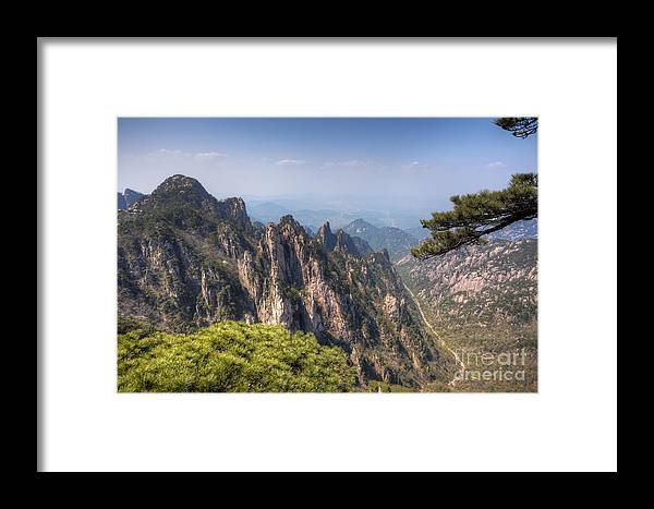 Anhui Framed Print featuring the photograph Huangshan Mountain Chinese Famous Landscape by Fototrav Print