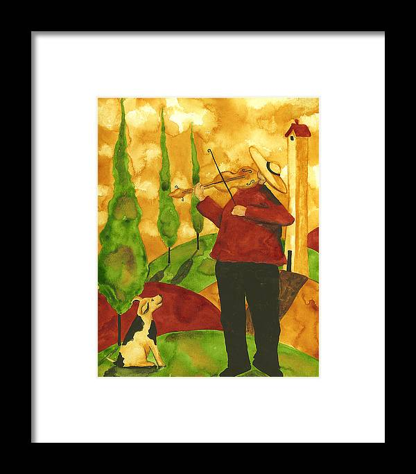 Country Framed Print featuring the painting Hubbs Art Folk Prints Whimsical Animal Dogs Pet Music Instrument Fiddler Violin by Debi Hubbs