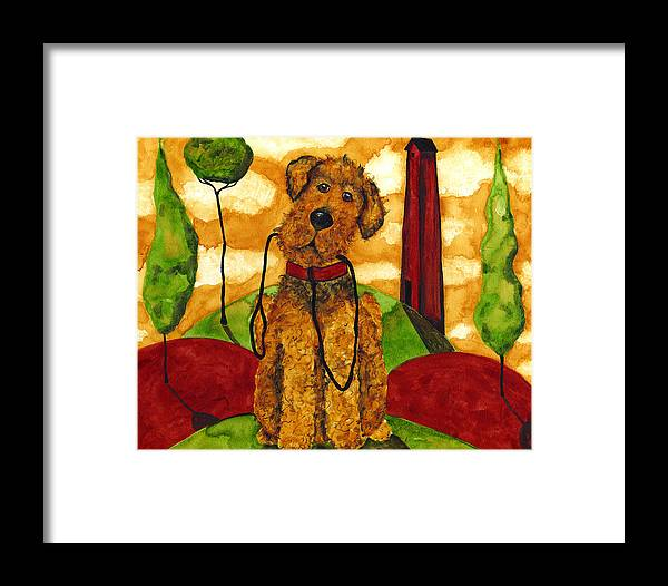 Airedale Framed Print featuring the painting Hubbs Art Folk Prints Whimsical Animals Dog Pet Walk Italy Tuscany Country by Debi Hubbs