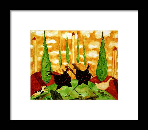 Pet Framed Print featuring the painting Hubbs Children Art Folk Prints Whimsical Farm Animals Dog Hen Chicken Chase by Debi Hubbs