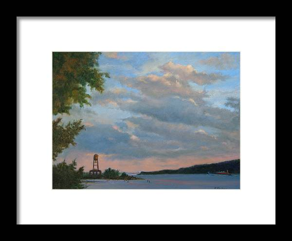 Hudson River Framed Print featuring the painting Hudson River Skyscape by Phyllis Tarlow
