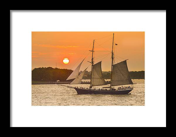 Sunset Framed Print featuring the photograph Hudson River Tall Ship In Manhattan New York - New York by Maria isabel Villamonte