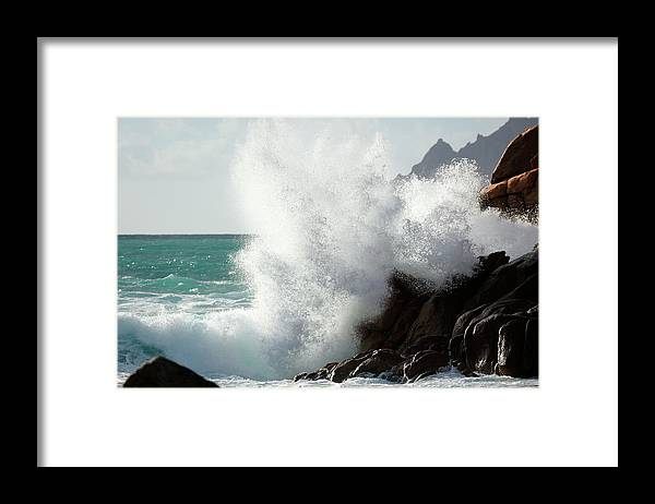 Water's Edge Framed Print featuring the photograph Huge Wave Splash by Akrp