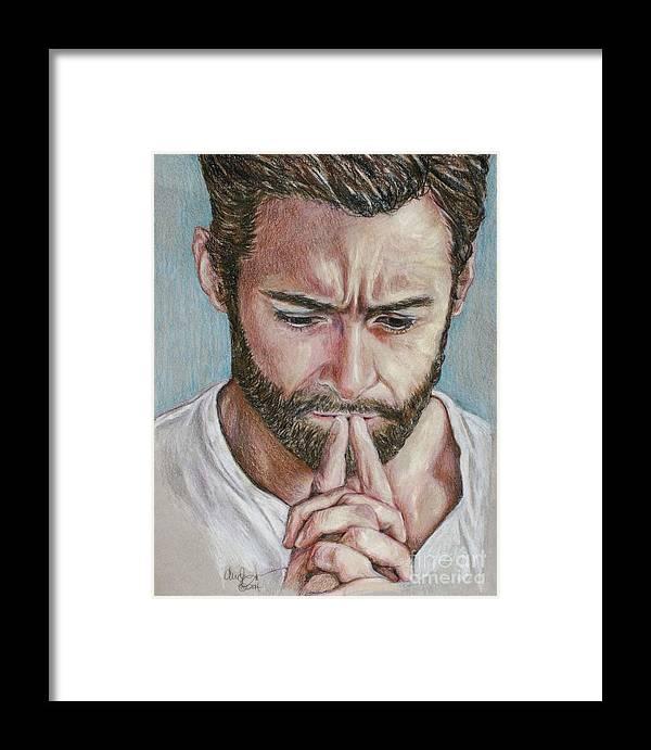 Hugh Jackman Framed Print featuring the drawing Hugh Jackman by Christine Jepsen