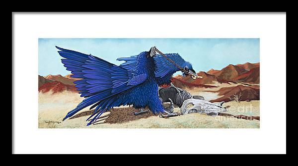 Raven Framed Print featuring the pastel Huginn And Muninn by Tracy L Teeter