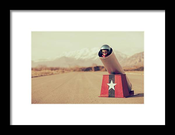 4-5 Years Framed Print featuring the photograph Human Cannonball by Richvintage