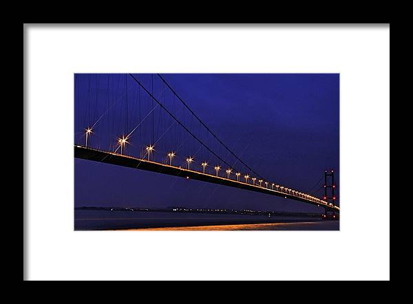 Night Framed Print featuring the photograph Humber Bridge by David Borrill