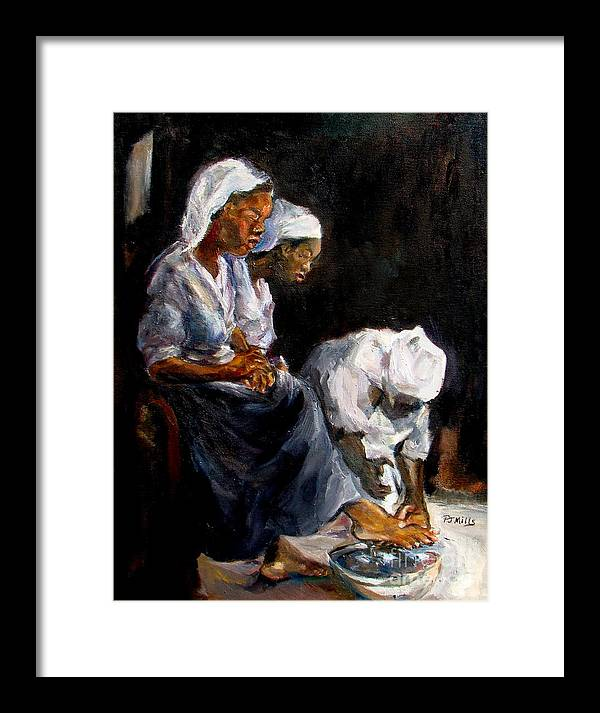 Washing Feet Framed Print featuring the painting Humble Hands by Patrick Mills