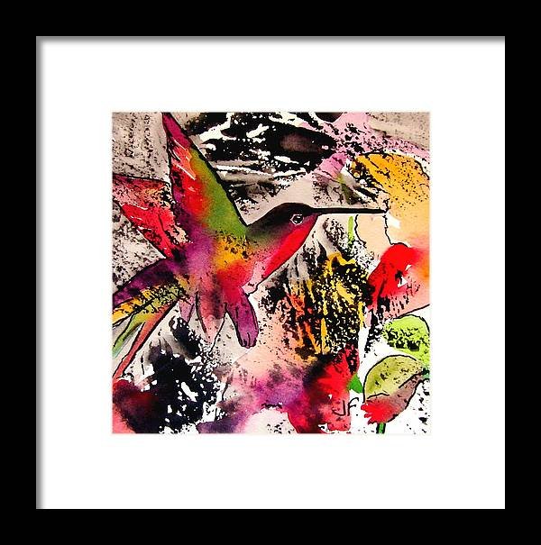 Bird Framed Print featuring the painting Humming Bird by Jane Ferguson