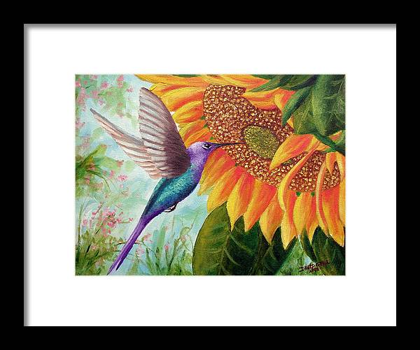 Hummingbird Framed Print featuring the painting Humming For Nectar by David G Paul