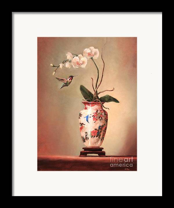 Japanese Framed Print featuring the painting Hummingbird And White Orchid by Lori McNee