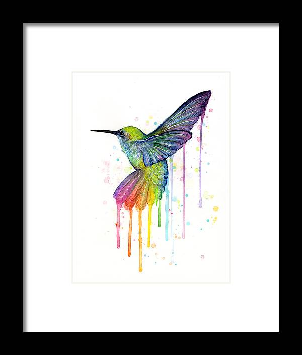 Hummingbird Framed Print featuring the painting Hummingbird of Watercolor Rainbow by Olga Shvartsur