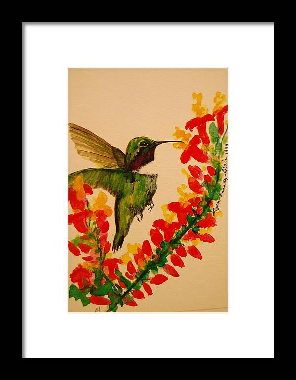 Bird Framed Print featuring the painting Hummingbird With Red Flowers by Lynn Beazley Blair