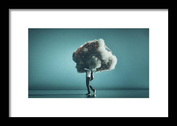 Internet Framed Print featuring the photograph Humorous mobile cloud computing conceptual image by Gremlin