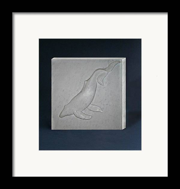 Whale Framed Print featuring the sculpture Humpback Whale by Leslie Dycke