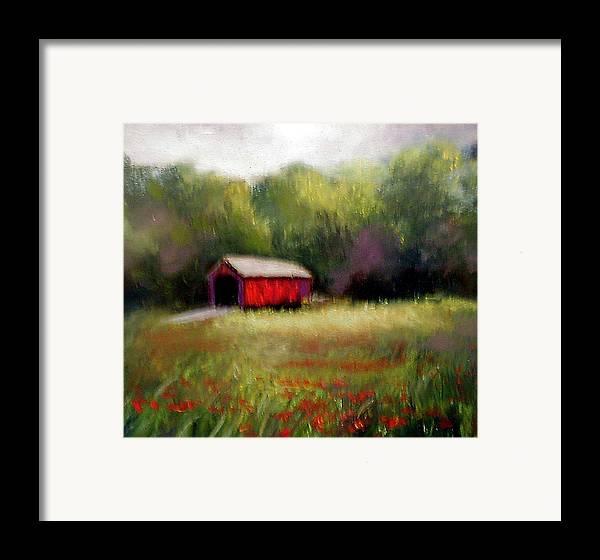 Covered Bridge Framed Print featuring the painting Hune Bridge by Gail Kirtz