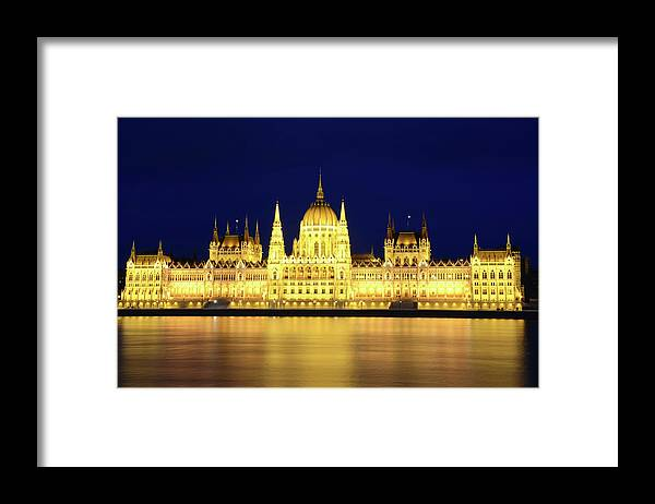 Hungarian Parliament Building Framed Print featuring the photograph Hungarian Parliament Building, Budapest by Dragos Cosmin Photos