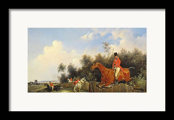 Scene De Chasse; Hunter; Hunters; Huntsman; Hunt; Riding; Horse; Rider; Outfit; Jumping; Fence; Landscape Framed Print featuring the painting Hunting Scene by Bernard Edouard Swebach