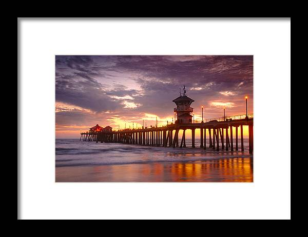 California Framed Print featuring the photograph Huntington Beach Pier Sunset by Dung Ma
