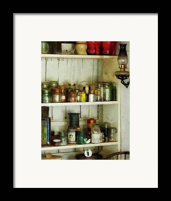 Pantry Framed Print featuring the photograph Hurricane Lamp In Pantry by Susan Savad