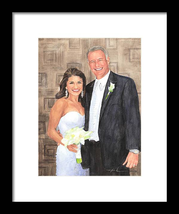 <a Href=http://miketheuer.com Target =_blank>www.miketheuer.com</a> Husband And Wife Watercolor Portrait Framed Print featuring the drawing Husband And Wife Watercolor Portrait by Mike Theuer