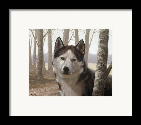 Husky Framed Print featuring the painting Husky In The Woods by John Silver