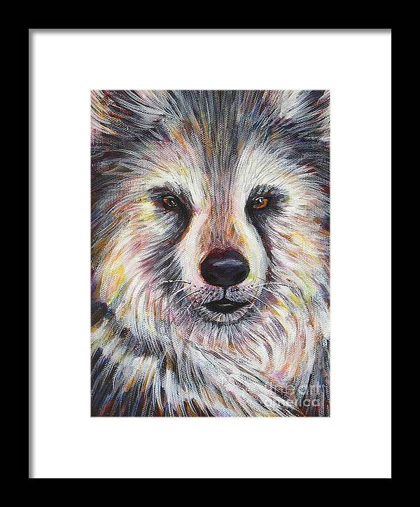 Husky Framed Print featuring the painting Husky Wolf by Gayle Utter