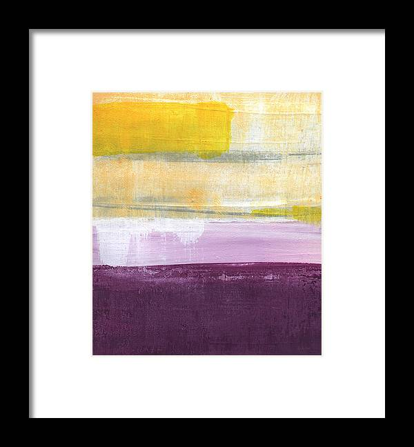 Purple And Yellow Abstract Painting Framed Print featuring the painting Hydrangea Two - abstract painting by Linda Woods