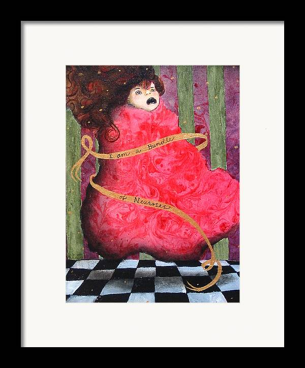 Figure Framed Print featuring the painting I Am A Bundle Of Neuroses by Pauline Lim