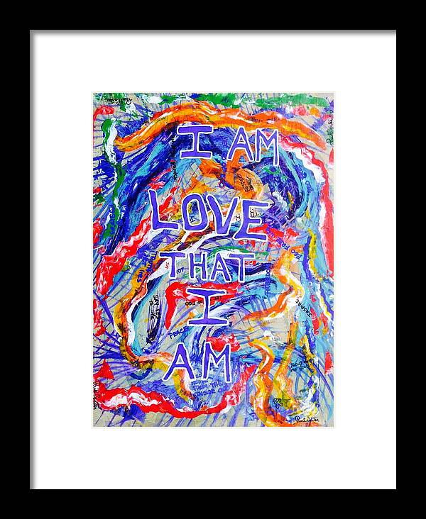 Abstractprints Framed Print featuring the painting I Am Love by Paul Carter