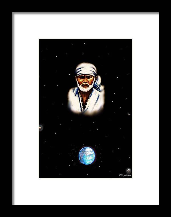 Sai Baba Framed Print featuring the painting I Am With You Always by Carmen Cordova