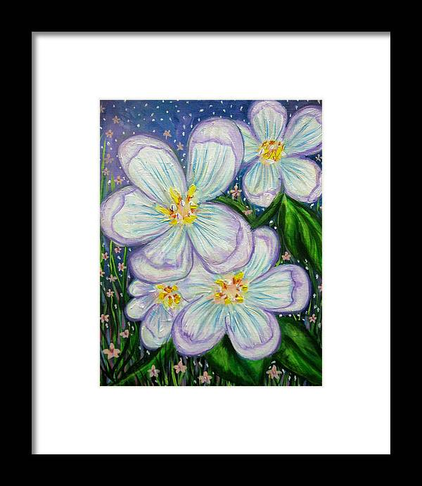 White Framed Print featuring the painting I Bloom With Courage by Mataji Villareal - Sharma