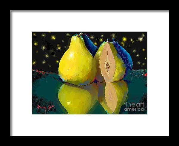 Two Pears Digital Art Framed Print featuring the digital art I Dream Of Pears by Dessie Durham
