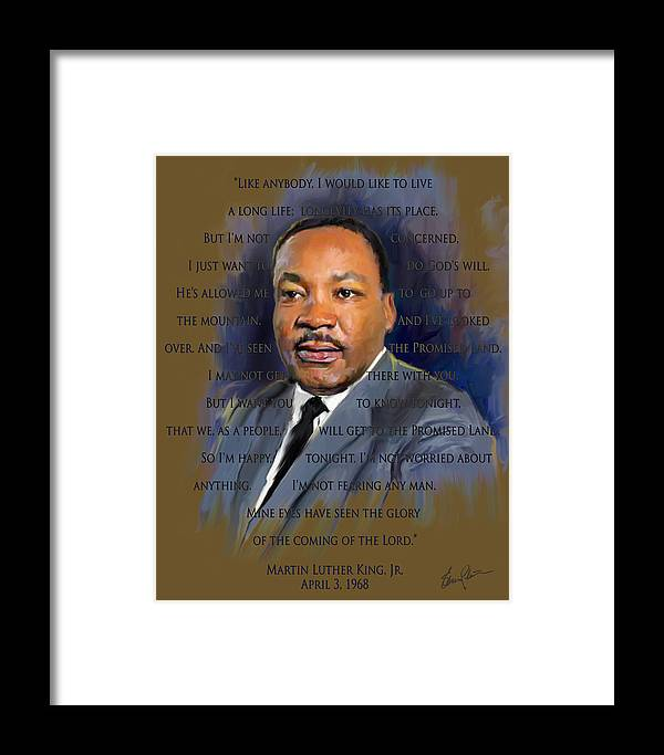 Mlk Framed Print featuring the painting I Have Been To The Mountain by Steven Lester