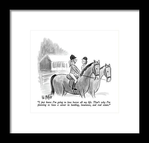 Two Girls Talking Together On Horseback.  Modern Life Framed Print featuring the drawing I Just Know I'm Going To Love Horses All My Life by Warren Miller