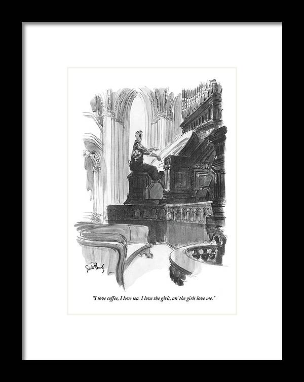 Music Framed Print featuring the drawing I Love Coffee by Gilbert Bundy