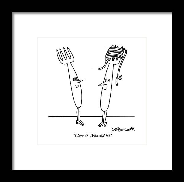 Women Framed Print featuring the drawing I Love It. Who Did It? by Charles Barsotti