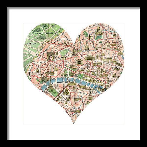Paris Georgia Map.I Love Paris Heart Map Framed Print By Georgia Fowler