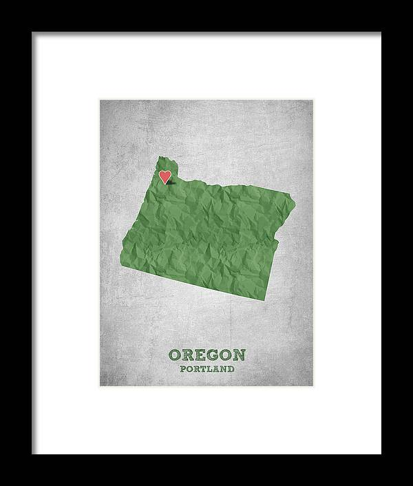 Portland Framed Print featuring the digital art I Love Portland Oregon- Green by Aged Pixel